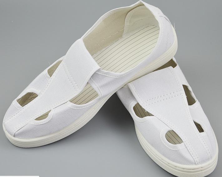 Giày chống tĩnh bốn lỗ màu trắng đi trong phòng sạch