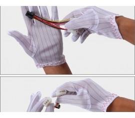 Găng tay trắng sọc chống tĩnh điện phòng lắp ráp linh kiện điện tử